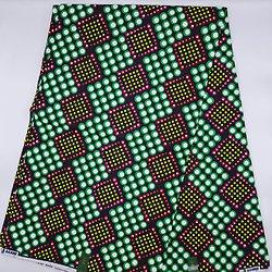 Coupon de tissu - Wax - Pois - Vert / Blanc / Noir