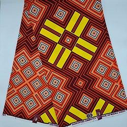 Coupon de tissu - Wax - Graphiques - Orange / Marron / Saumon