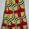 Coupon de tissu - Wax - Graphiques - Pailleté - Rouge / Vert / Orange