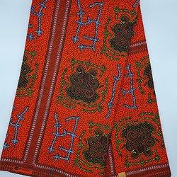 Coupon de tissu - Wax - Graphiques - Rouge / Jaunne / Blanc
