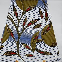 Coupon de tissu - Wax - Feuilles - Blanc / Jaune / Rouge