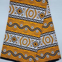 Pagne - Wax - Graphiques - Orange / Noir / Blanc