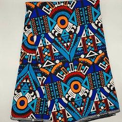 Coupon de tissu - Wax - Graphiques - Bleu / Orange / Rouge