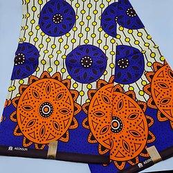 Pagne - Wax - Rosaces - Bleu / Orange / Jaune