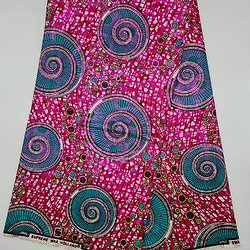 Coupon de tissu - Wax 100% coton - Graphiques - Rose / Vert / Marron - Brillant Rose