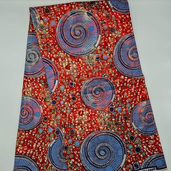 Coupon de tissu - Wax 100% coton - Graphiques - Rouge / Bleu / Noir - Brillant Doré / Rouge