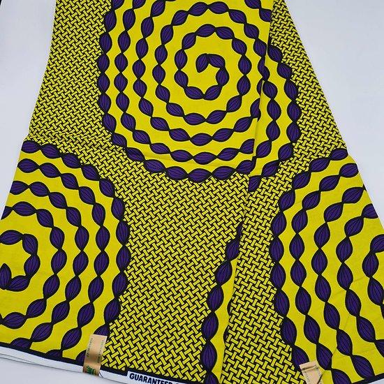 Coupon de tissu - Wax - Spirales - Jaune / Noir