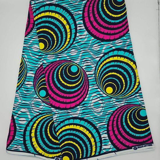 Pagne - Wax 100% coton - Graphiques - Rose / Turquoise / Jaune