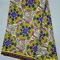 Coupon de tissu - Wax 100% coton - Graphiques - Jaune / Bleu / Orange