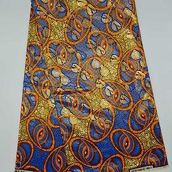 Coupon de tissu - Wax 100% coton - Lunettes - Orange / Bleu / Ocre - Brillant Doré