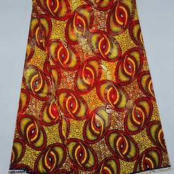 Coupon de tissu - Wax 100% coton - Lunettes - Jaune / Rouge / Orange - Brillant Doré / Rouge