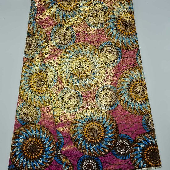 Coupon de tissu - Wax 100% coton - Graphiques - Rose / Bleu / Orange - Brillant Doré