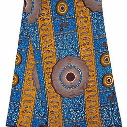 Pagne - Wax 100% coton - Graphiques - Bleu /  Orange / Marron