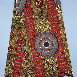 Coupon de tissu - Wax 100% coton - Graphiques - Orange / Marron / Ocre