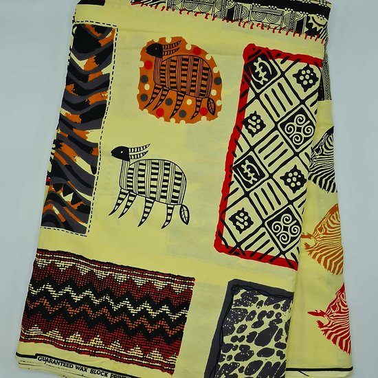 Coupon de tissu - Wax 100% coton - Graphiques - Crème / Noir / Rouge