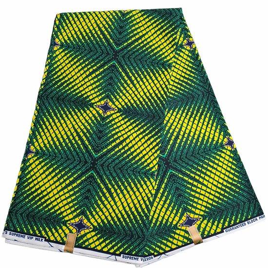Pagne - Wax - Graphiques - Vert / Jaune