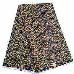 Pagne - Wax 100% coton - Graphiques - Jaune / Violet / Noir