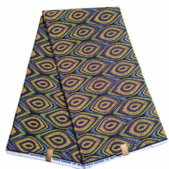 Coupon de tissu - Wax 100% coton - Graphiques - Jaune / Violet / Noir