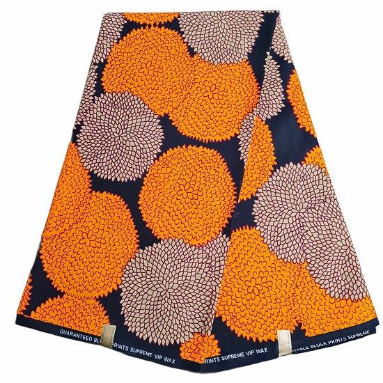 Coupon de tissu - Wax - Ronds - Orange / Brun / Noir