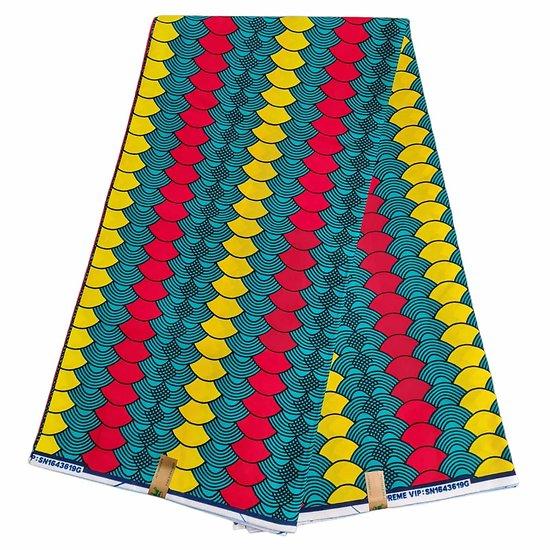 Coupon de tissu - Wax - Graphiques - Vert / Rouge / Jaune