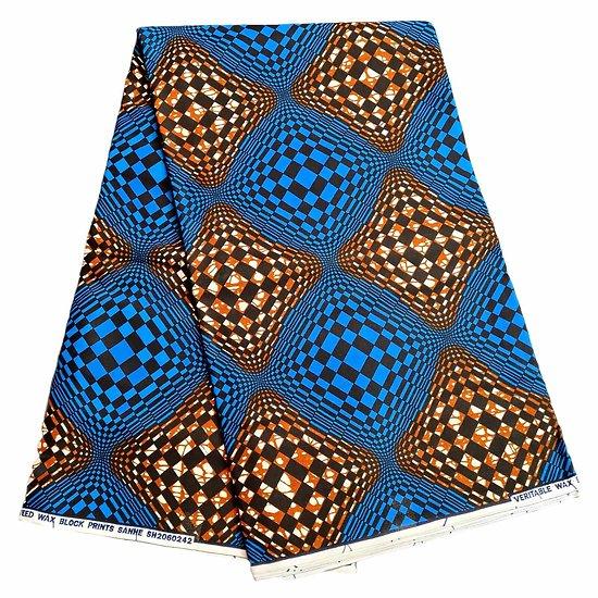 Pagne - Wax - Graphiques - Marron / Bleu / Noir