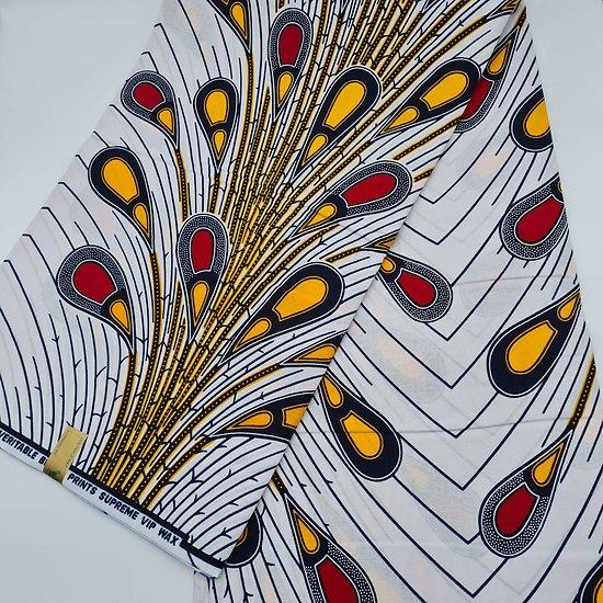 Coupon de tissu - Wax - Plume de paon - Rouge / Jaune / Blanc