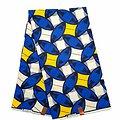 Coupon de tissu - Wax - Graphiques - Bleu / Jaune / Blanc