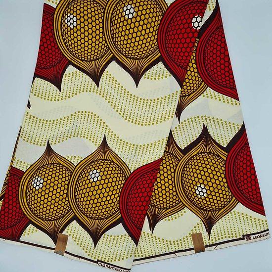 Coupon de tissu - Wax - Oignons - Jaune / Rouge / Ocre