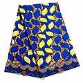 Coupon de tissu - Wax 100% coton - Graphiques - Bleu / Jaune / Ocre