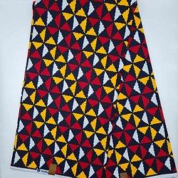 Coupon de tissu - Wax - Triangles - Rouge / Jaune / Noir