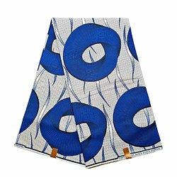 Pagne - Wax 100% coton - Roues - Bleu / Blanc / Noir