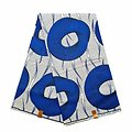 Coupon de tissu - Wax 100% coton - Roues - Bleu / Blanc / Noir