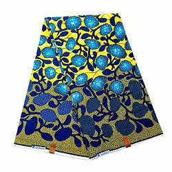 Pagne - Wax 100% coton - Corail - Jaune / Bleu / Vert