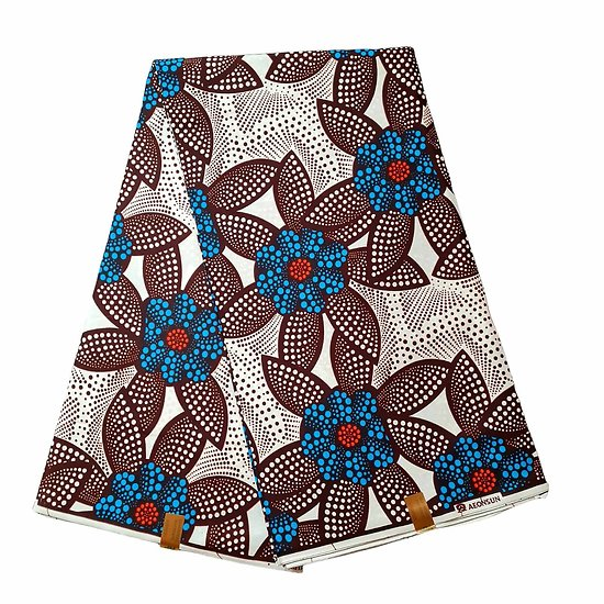 Pagne - Wax 100% coton - Fleurs - Bleu / Orange / Marron