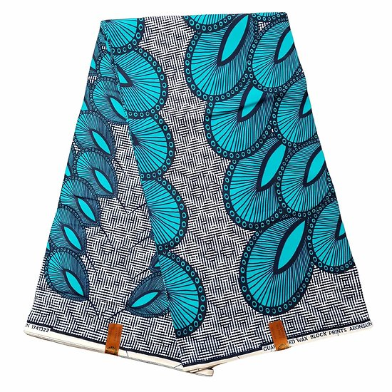 Coupon de tissu - Wax 100% coton - Paon - Turquoise / Bleu / Blanc