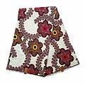 Pagne - Wax 100% coton - Fleurs - Marron / Jaune / Rouge