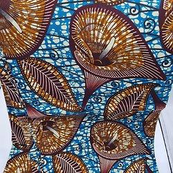 Coupon de tissu - Wax - Créachris Couture - Bleu / Marron / Ocre