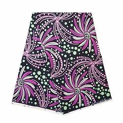 Coupon de tissu - Wax 100% coton - Fleurs - Mauve / Rose / Vert