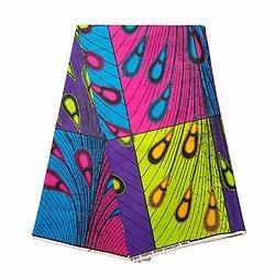 Coupon de tissu - Wax 100% coton - Pétales - Bleu / Rose / Jaune
