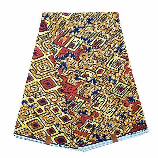 Coupon de tissu - Wax 100% coton - Graphiques - Jaune / Marron / Noir