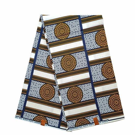 Pagne - Wax 100% coton - Graphiques - Jaune / Bleu / Noir