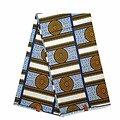Coupon de tissu - Wax 100% coton - Graphiques - Jaune / Bleu / Noir
