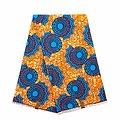 Pagne - Wax 100% coton - Graphiques - Orange / Bleu / Bordeaux