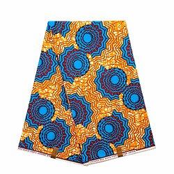 Coupon de tissu - Wax 100% coton - Graphiques - Orange / Bleu / Bordeaux