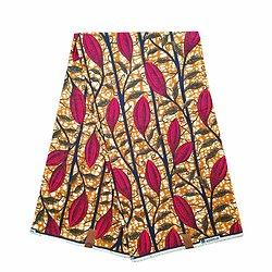 Pagne - Wax 100% coton - Fleurs - Rouge / Ocre / Noir