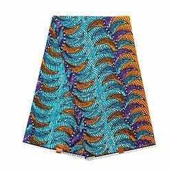 Pagne - Wax 100% coton - Graphiques - Orange / Bleu / Violet