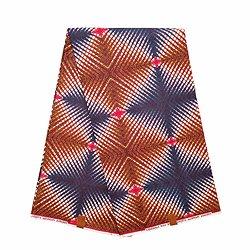 Coupon de tissu - Wax 100% coton - Graphiques - Bleu / Rouge / Marron