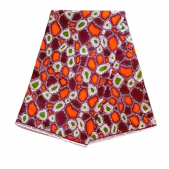 Coupon de tissu - Wax 100% coton - Graphiques - Orange / Bordeaux / Vert