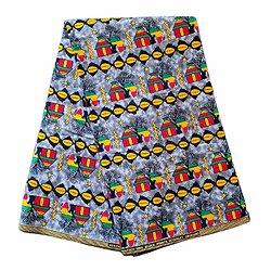 Coupon de tissu - Wax 100% coton - Afrique - Vert / Orange / Rouge