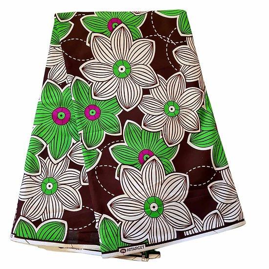 Coupon de tissu - Wax 100% coton - Fleurs - Vert / Marron / Blanc